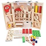 royalr Combinación de Madera DIY portátil Simulación Caja de Herramientas Set Pretend reparación Kit de Herramientas de Juguete para niños Educación Desmontaje