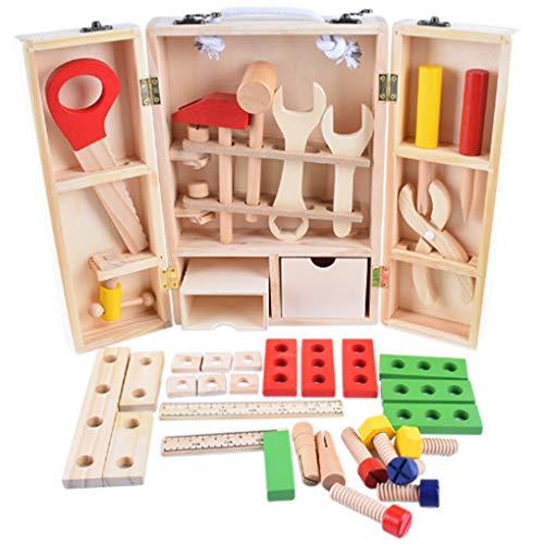 Houten DIY draagbare simulatie Toolbox Set combinatie doen alsof reparatie draagbare Toolbox speelgoed, houten Toolkit kinderen demontage onderwijs speelgoed