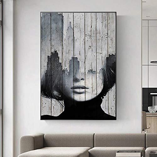 Impresión de Lienzo HD Mural Art Poster Girl Posters and Prints Mujeres Pintura Blanco y Negro Abstracto Wall Art Pictures para Sala de Estar Dormitorio Sin Marco