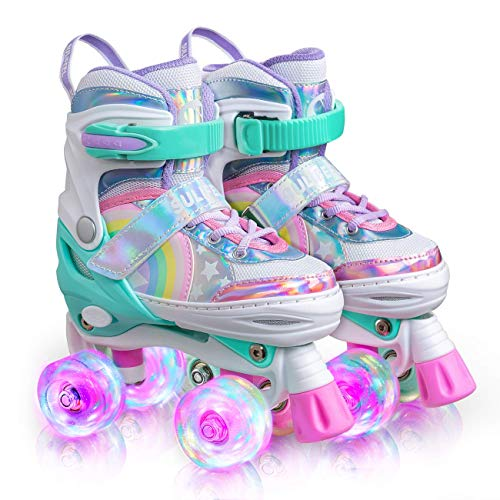 Sulifeel Rainbow Unicorn 4 Size Adjustable Light up Roller Skates for Girls Boys...