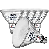 Explux 120W Equivalent Classic Full Glass LED PAR38 Flood Light Bulbs, 1300 Lumens, 3000K 6-Pack, Dimmable, Outdoor Weatherproof, Bright White