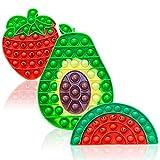 Popit Fidget Toy Pack, Pop Push It Bubble Sensory Fidget Toys Set - Juguete Sensorial en Forma de Fruta para Autismo, Estrés, Alivio de la Ansiedad – Popits Juguete Antiestres Niños y Adultos