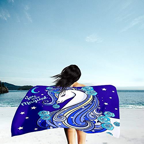 Surwin Grande Toalla de Playa de Microfibra Toalla a Impresión de Secado Rápido Súper Absorbente Natación Toalla de Arena Antiadherente para Playa, 3D Impresión (Cartoon Unicornio 4,150x180cm)