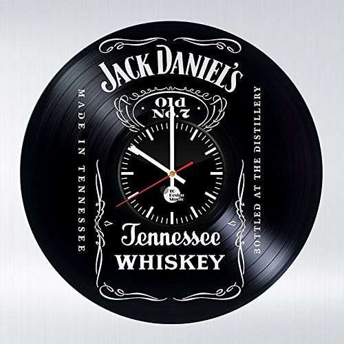 wtnhz LED-Bottle of Wine Vinyl LP Record CD Wall Clock 3D Modern Design Letter Cool Wall Watch Home Decoration Home Life