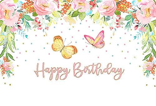 Fondo Fiesta de cumpleaños Mariposa bebé niñas Princesa de Hadas Rosa Floral Oro telón de Fondo Estudio fotográfico A5 9x6ft / 2,7x1,8 m