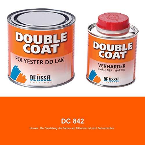 De IJssel 2K Bootslack Double Coat | 27 Farben | 500g Set | 2K Lack Yachtlack Decklack für Holz Gfk Epoxid Polyester ABS Stahl Aluminium (DC 842 Orange)