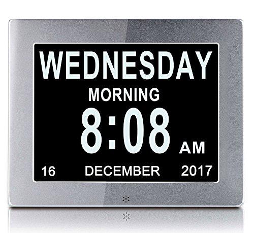 """YKal 8""""Zoll LCD-Digitaluhrkalender mit Datum, Tag und Uhrzeit, Nicht abgekürzte Uhr, automatisches Dimmen 8 Sprachen HD-Display-Erinnerung für ältere Alzheimer-Kinder und Kinder (Silber)"""