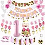 Kit de decoración de fiesta de cumpleaños 61pcs Baby Girl First, incluye HAPPY BIRTHDAY y I AM ONE Banner, corona de flores, borla de papel, flores de pompón y globos