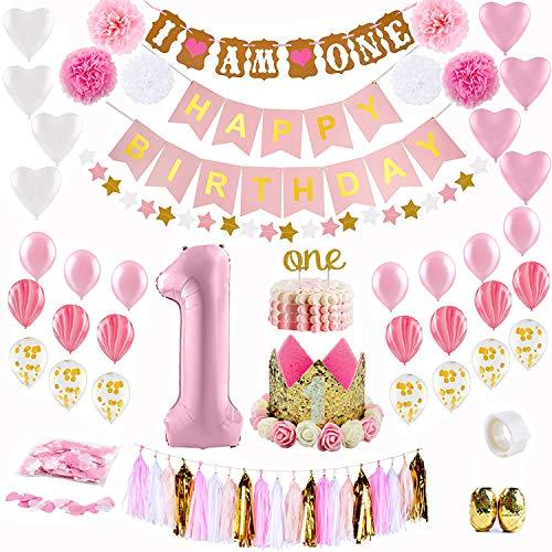 Cojoy Geburtstag Deko-Set,61pcs Baby Girl erste Geburtstagsfeier Dekoration Kit,Umfassen Happy Birthday und I AM ONE Banner,Blume Krone,Papier-Quaste,Pompom Blumen und Luftballons