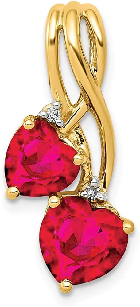 Solid 14k Yellow Gold Lab All items in the store Created Diamond Ruby Washington Mall Double Heart and