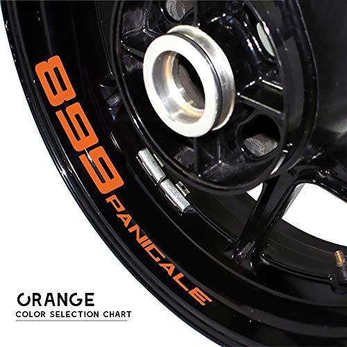PUXINGPING- Motocicleta Etiqueta Rueda Reflectante Borde de la Raya de la Cinta de la Etiqueta Styling Vara for Ducati 899 PANICALE (Color : Orange)
