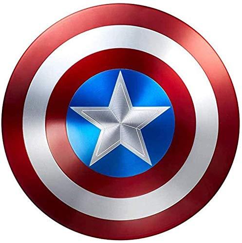 JJMUD Captain America Shield en métal Cosplay Props Superhero Costume rétro Bouclier Halloween 75e Anniversaire Bouclier américain for Adultes et Enfants Bar Mur Mur Mural Hors décorations 47cm