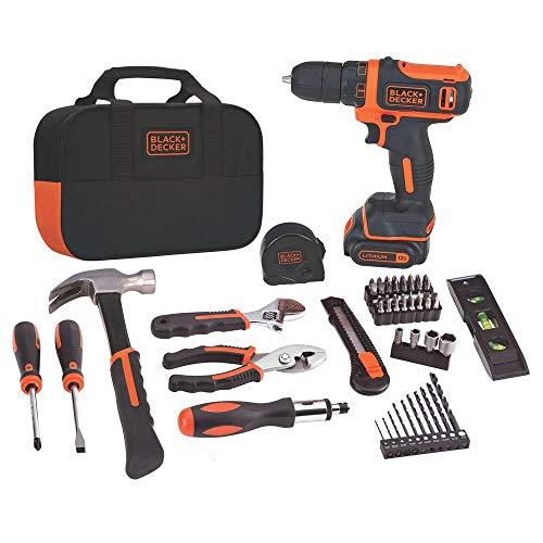 BLACK+DECKER 20V MAX Drill & Home Tool Kit, 59 Piece (BDCDD12PK) (Renewed)