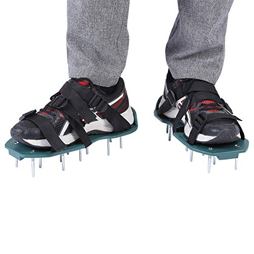 Fictory Rasenbelüftungsschuhe Rasenlüfter Schuhe mit 3 Verstellbare Gurte, 1 Paar Rasenlüfter Vertikutierer Rasen Vertikutierer Rasen Nagelschuhe für Dein Rasen oder Hof