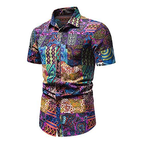 SSBZYES Camisa De Hombre De Manga Corta Camisa De Flores De Verano Camisa De Flores De Manga Corta Camisa De Playa Camisa Suelta De Flores De Playa Camisa De Flores Hawaianas