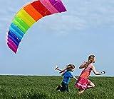 Cometa Arcoiris con Cuerda de 30 M para NiñOs y Adultos, DiseñO de LáMina de IntroduccióN Cometas Arcoiris Soft Stunt Sport Parafoil Kite con Juego de Herramientas Voladoras