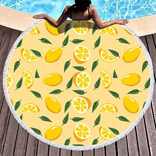 Rtisandu Toallas de playa redondas, limones, baratas, toallas de mano, colchonetas de yoga, unisex, color blanco, talla única