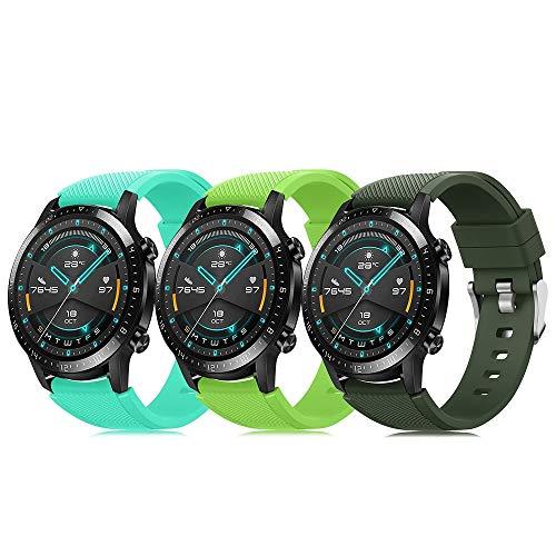 Juego de 3 pulseras 22 mm compatibles con Huawei GT 2 Samsung Galaxy Watch 46 Gear S3 correa reloj silicona suave cierre rápido, correas deportivas transpirables DE71003 (color 7-9)