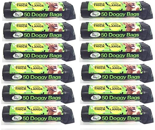 600 Extra Strong TidyZ Black Doggy Waste Bags With Tie Handle 32cm x 38cm 2
