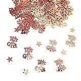 Oblique Unique® Konfetti It's A Girl + Sterne Roségold 500 STK. Tisch Deko Streudeko für Geburt Taufe Baby Shower eines Mädchens