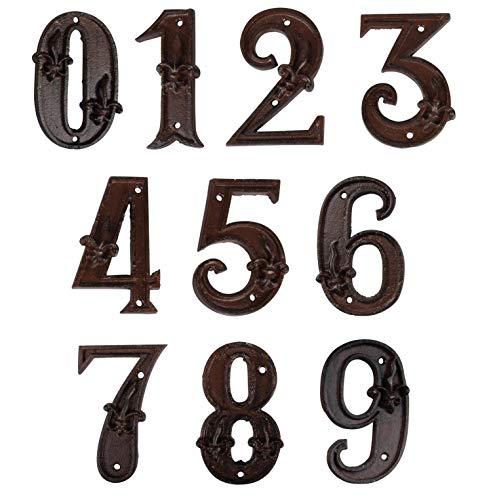 Vand Hausnummer aus Gusseisen, Adressnummernschild, Antikbraun, Rost-Finish mit Fleur de Lis Prägung,11,6x7,2 cm, Ziffer 6