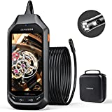 DEPSTECH Dual-Lens Industrial Endoscope, 1080P HD Inspection Camera with 4.5' IPS Screen, 0.31 Inch Digital Borescope with 7 LED Lights, 3300mAh Battery, 32GB Card, EVA Case, 16.5ft Semi-Rigid Cable