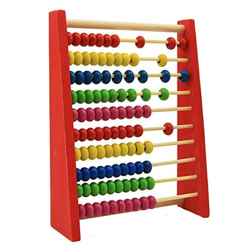 DEDC Cornice di Conteggio Abaco Perline in Legno 20 cm per Bambini Educativo Impara Matematica Giocattolo Verde/Rosso/Giallo/Blu/Colore di Legno Colori Casuali