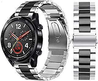 Stainless Steel Strap Band for Huawei Smart Watch GT2 and GT / Honor Magic 2 - Black / Silver
