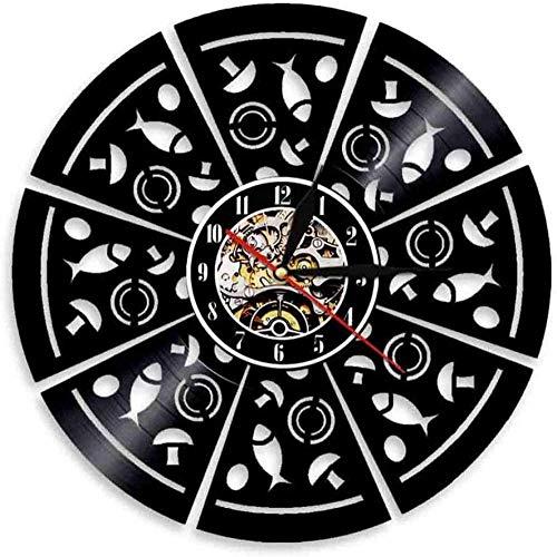 BBZZL Reloj de Pared de Vinilo Pizza de mariscos Estudio de grabación Retro Hecho a Mano Amigos Hueco 12 Pulgadas