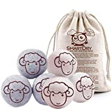 NuVur All Natural Wool Dryer Balls Organic Fabric Softener Laundry - 6 Pack XL - Reusable Reduce Wrinkle Quicker Drying Time Anti-Static Large Clothes Drying Ball (3 Grey 3 White)