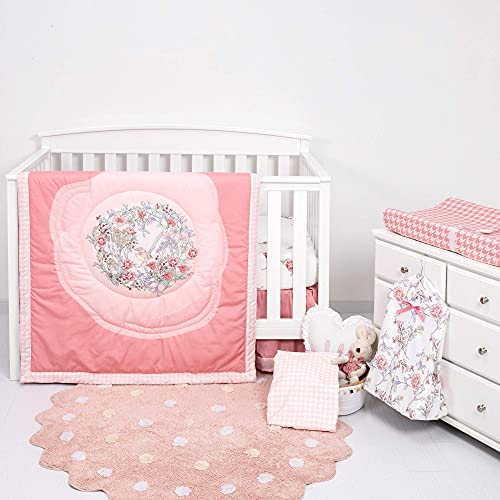 TILLYOU 6-Piece Floral Crib Bedding Set for Girl, Luxury Nursery Bedding Including 1 Padded Comforter, 1 Crib Skirt, 1 Diaper Stacker, 1 Changing Pad Cover, and 2 Standard Crib Sheets, Pink Floral