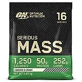 Optimum Nutrition Serious Mass, Mass Gainer avec Whey, Proteines Musculation Prise de Masse avec Vitamines, Creatine et Glutamine, Cookies & Crème, 16 Portions, 5.45kg, l'Emballage Peut Varier