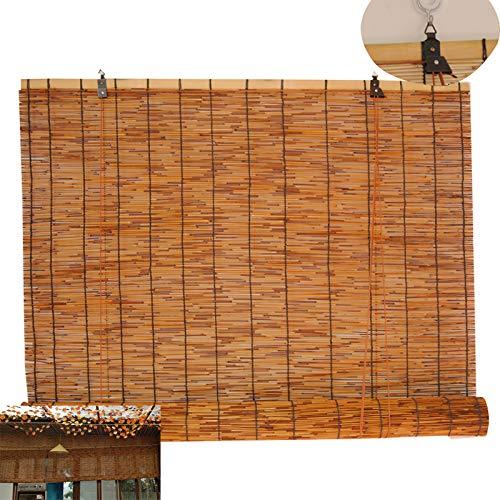 Geovne Store Enrouleur Bambou Tenture Murale,Stores à Enrouleur Rétro,Rideaux en Roseau,Isolant Thermique/Respirant/Naturel,Pour Intérieur,Extérieur,Jardin,Terrasse (50x100cm/20x39in)