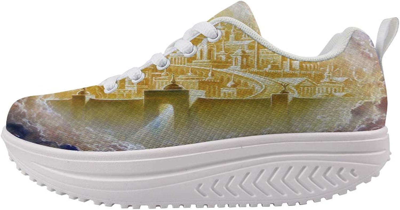 Owaheson Swing Platform Toning Fitness Casual Walking shoes Wedge Sneaker Women Heaven gold Holy City Jerusalem