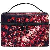 Sacs de Maquillage de Voyage avec Mur de Fleurs à Fermeture éclair avec étui Multifonctionnel Portable de Sac cosmétique de Roses