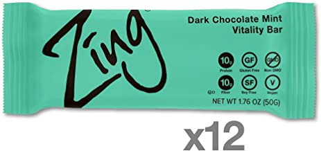 Zing Vital Energy Nutrition Bar, Dark Chocolate Mint, (12 Count), High Protein, High Fiber, Low Sugar, Real Dark Chocolate, Natural Peppermint, No Nuts