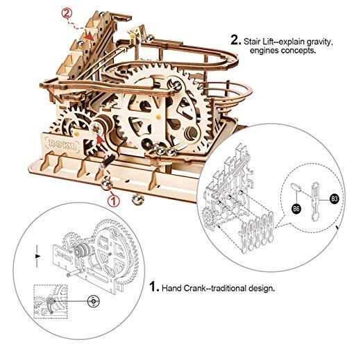 ROKR hölzerne Mechanische 3D Puzzle Mechanische Modell mit Balls Brainteaser für Kinder, Jugendliche und Erwachsene (Waterwheel Coaster)