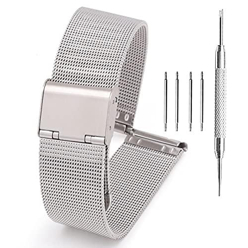Adallor® Smartwatch Armband Wechselarmband für Herren Damen mit Uhrenwerkzeug und Federstege, Uhrenarmband Edelstahl, Ersatzarmband, Metall Mesh Uhrenarmbänder, Uhrband 22mm, 20mm, 24mm, 18mm, 16mm