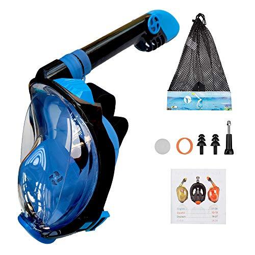XWWS Buceo máscara Completa máscara de Snorkel Set con Anti Niebla Sistema de respiración avanzado para Adultos para niños con máscara de Montaje de cámara Desmontable,Azul,L/XL