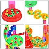 Queta Marble Run Kugelbahn, 109pcs Mehrfarbige Konstruktionsbausteine DIY Bausteine mit Bahnelementen und Glasmurmeln pädagogisch für Kinder Spielzeug (3+ Jahre) - 5