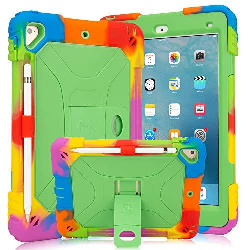 iPad 9.7 Case iPad Air 2 Case iPad 6th/5th Generation Case with Durable Kickstand Hybrid Three Layer Heavy Duty Kids Case with Shockproof for iPad 2 Air & iPad 6/5 gen(2018/2017) (Rainbow Green)