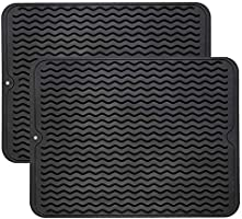 ZLR Silicone Dish Drying Mats 2 Pack Easy Clean Dishwasher Heat Resistant Eco-Friendly Trivet Black Large 15.8 inches X...