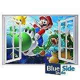 Adhesivo decorativo para pared con diseño de Super Mario Bross, 105cm x 69cm