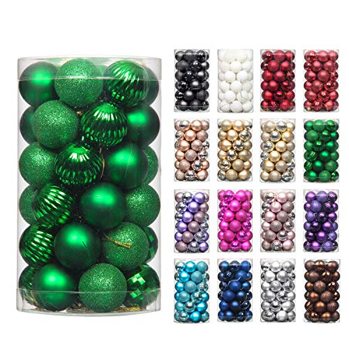 QinYing 4cm/1.57' Dark Green 41pcs Christmas Tree Hanging Balls Christmas Balls Ornaments for Holiday Party Baubles Decoration Set with Hang Rope