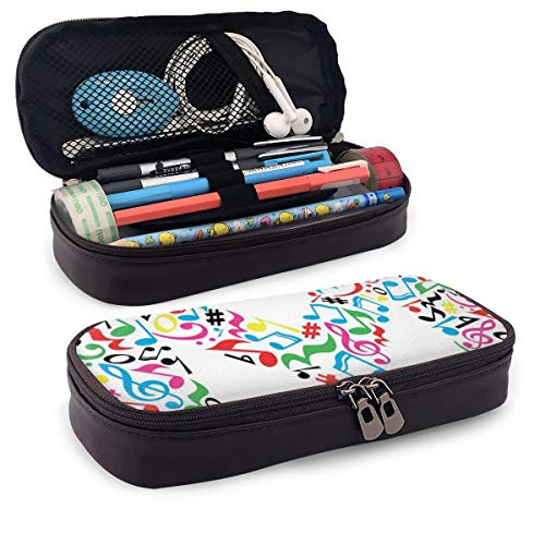 Pencil Case Big Capacity Storage Holder Desk Pen Pencil Marker Stationery Organizer Pencil Pouch with Zipper,Major And Minor Notes And Other Musical Elements In Uppercase M Design Alphabet