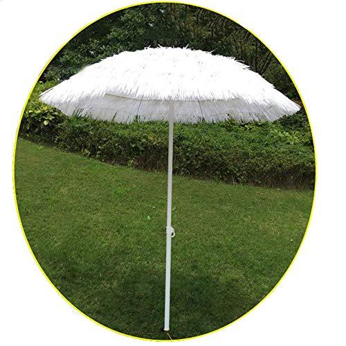Wghz Parasol 6ft Bianco Nappa Rotonda, Coperto con ombrellone Paglia Paglia Imitazione/Giardino Hawaiano (Base Non Inclusa)