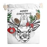 Ainiteey Christmas Animal Happy Set de 6 bolsas de almacenamiento portátil con cordón bolsa organizador de viaje con cierre de cordón bolsas para recuerdos de boda