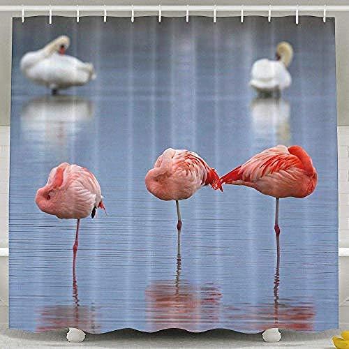 Relovsk douchegordijn Hawaii Flamingo vogels patroon waterdicht polyester stof baddecoratie badkamer sets waterafstotend en milieuvriendelijk inclusief gratis haken