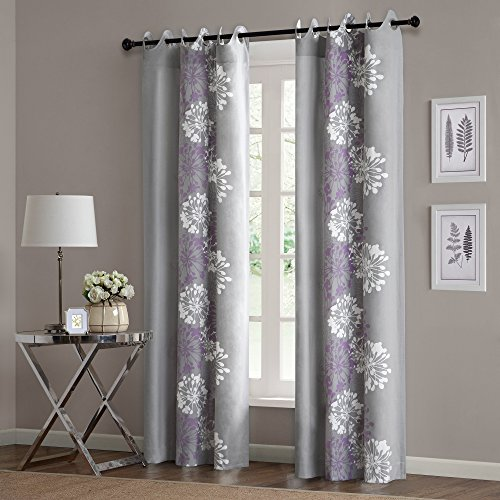 Grey Curtains for Living Room, Modern Contemporary Purple Window Curtains for Bedroom, Anaya Floral Fabric Grommett Window Curtains, 50X63, 1-Panel Pack