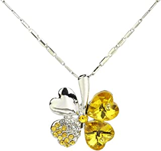 CHOP MALL Yellow Lucky Four Leaves Clover Pendant Jewelry Chain Necklace for Girl/Lady/Women/Mum/Mother's Day/Mommy Birthday/Anniversary Gift